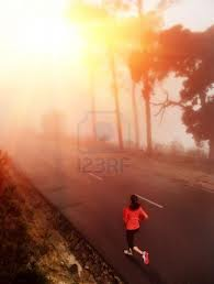 jogger at sunrise