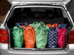 shopping bags in trunk