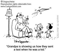 cartoon grandpa texting